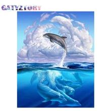 GATYZTORY Diamond Embroidery Ocean Dolphin Handmade Diamond Painting Village Needlework Mosaic Cross Stitch Home Decor diamond embroidery wolf handmade diamond painting needlework mosaic cross stitch home decor
