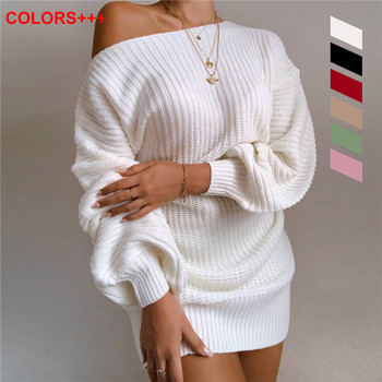 iMucci White Women Sweaters Pullovers Sexy Off the Shoulder Ladies Clothing Fashion Lantern Sleeve Causal Knitted Sweater Dress lace applique lantern sleeve cold shoulder top