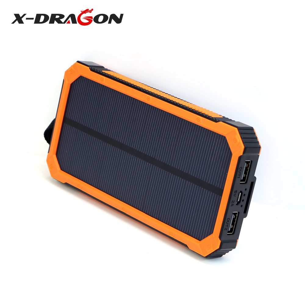 X-DRAGON Solar <font><b>Power</b></font> <font><b>Bank</b></font> <font><b>15000mAh</b></font> Mobile External Battery Portable Charger for iphone 11 11pro <font><b>Xiaomi</b></font> Huawei etc. image