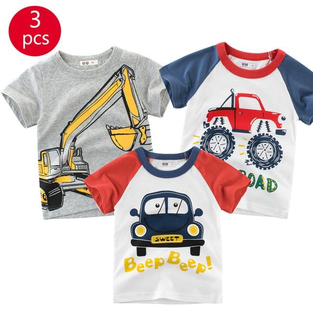 27kids 3pcs/lots 27kids 3pc Dinosaur Pattern Boys T Shirt for Kids Baby's Tops t-shirt Cotton Children Short Sleeve Clothes 3