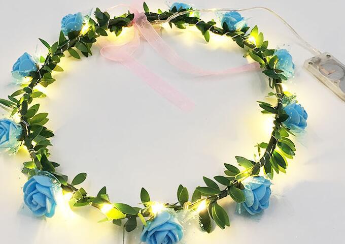20-light LED Lamp String Luminous Wreath Button Battery Headdress Children's Seaside Tourism