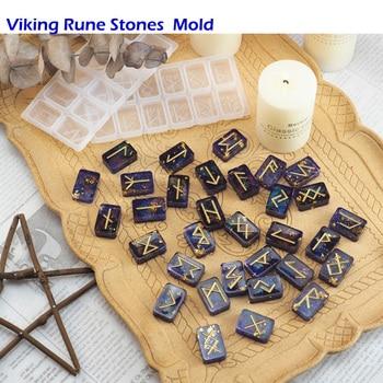 Rune Stones Wicca Crystals Epoxy Resin Molds Engraved Elder Futhark Alphabet Viking DIY Silicone Witchcraft Jewelry