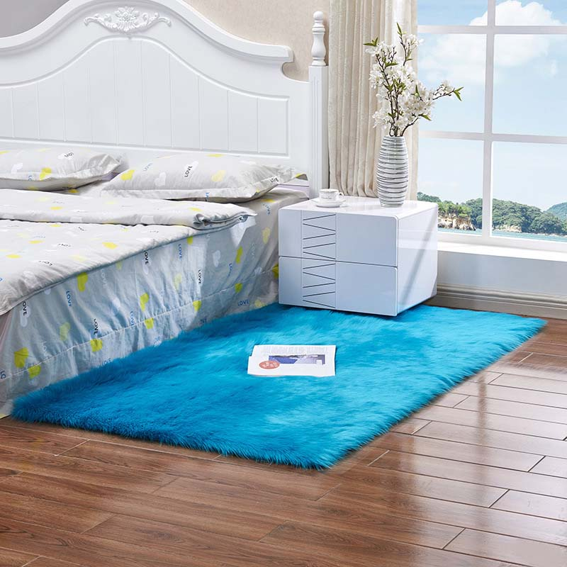 Очень мягкие прямоугольные коврики из искусственного меха овчины для спальни, напольный ворсистый шелковистый плюшевый ковер, белый ковер из искусственного меха, прикроватные коврики - Цвет: dark blue