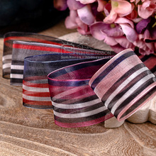 100yards 25mm 38mm printed stripes organza sheer ribbon for wedding party decoration valentines day gift packing bow