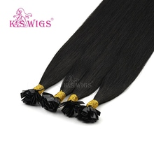 K.S Wigs 24'' Remy Pre Bonded Flat Tip Human Hair Extensions Straight Double Drawn Capsules Keratin Fusion Hair 1g/s