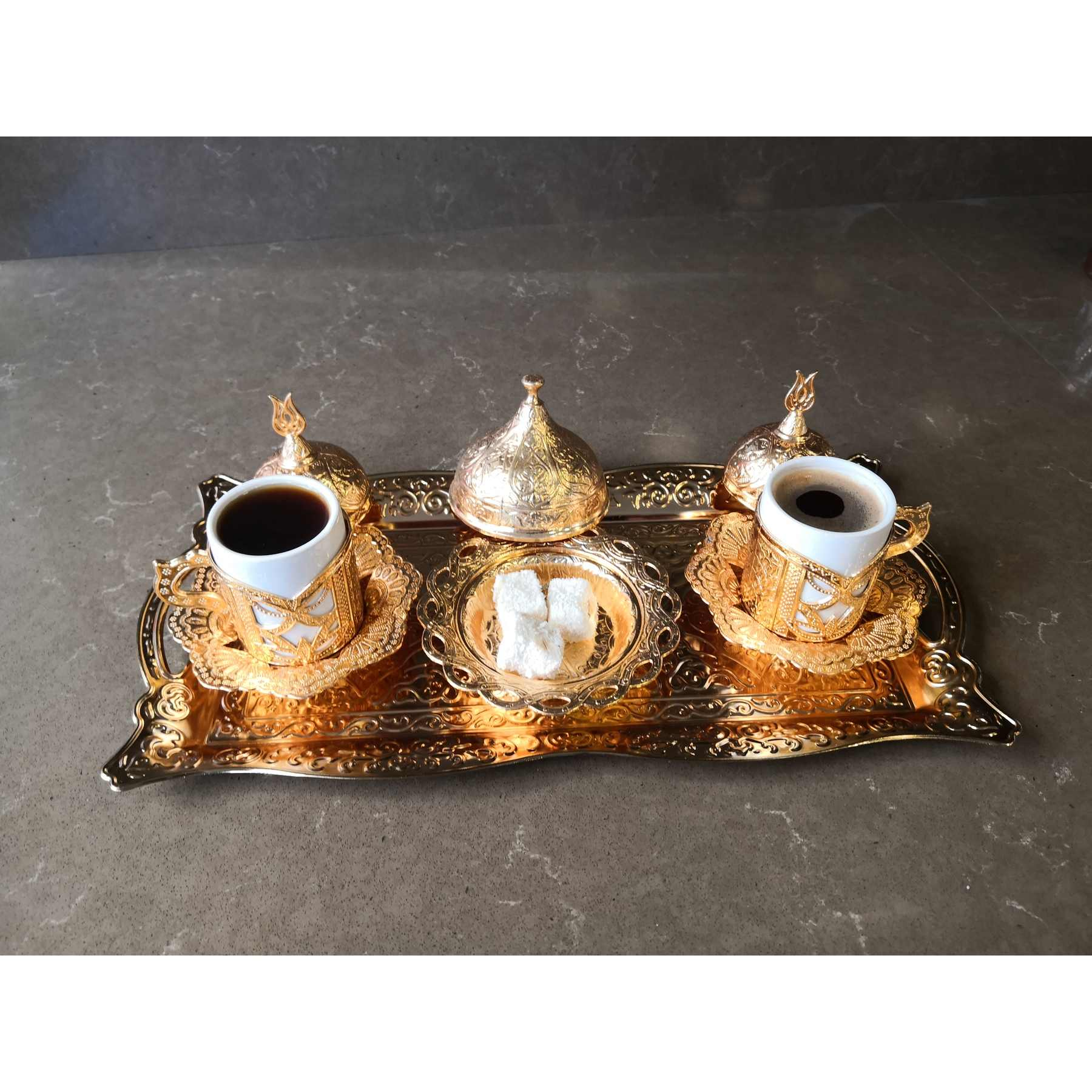 (9 PCS) Copper Turkish Tea Coffee Espresso Cups Set Anatolian Arabic Coffee Cups Set Ottoman Tea Sets MADE IN TURKEY