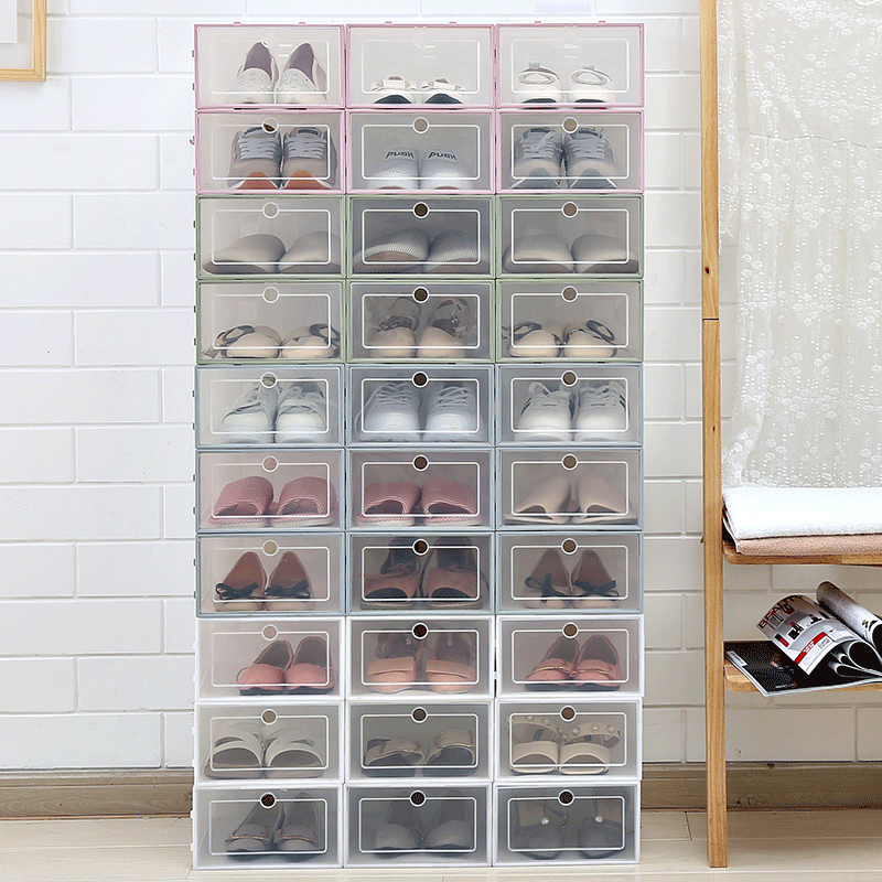 1Pcs New Shoe Box Transparent Plastic Shoe Box Shoe Storage Artifact Shoe Storage Box Shoe Box Shoe Box Clamshell Drawer Box