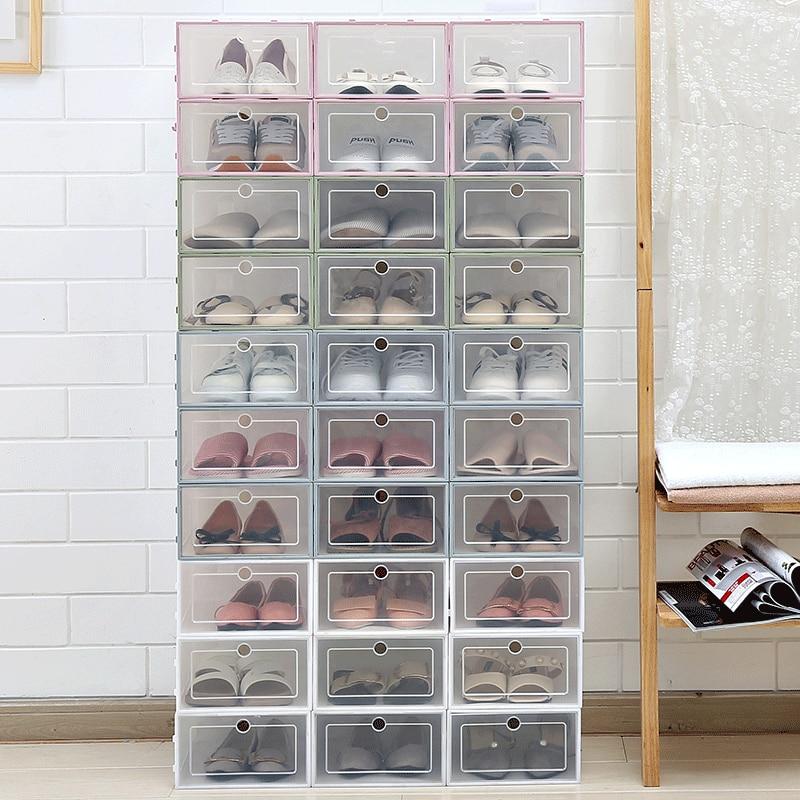 1Pcs New Shoe Box Transparent Plastic Shoe Box Shoe Storage Artifact Shoe Storage Box Shoe Box Shoe Box Clamshell Drawer Box