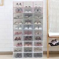 Caixa de plástico transparente para sapatos  caixa artefato armazenamento de sapatos para caixa de sapato e clamshell  1 peça caixa de gavetas