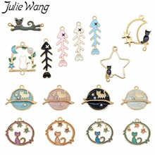 Julie Wang 10PCS Enamel Cat Fish Bone Charms Random Mixed Alloy Gold Tone Necklace Bracelet Earring Jewelry Making Accessory julie wang 10pcs enamel mermaid whale fish tail charms mixed colors gold tone bracelet necklace alloy jewelry making accessory