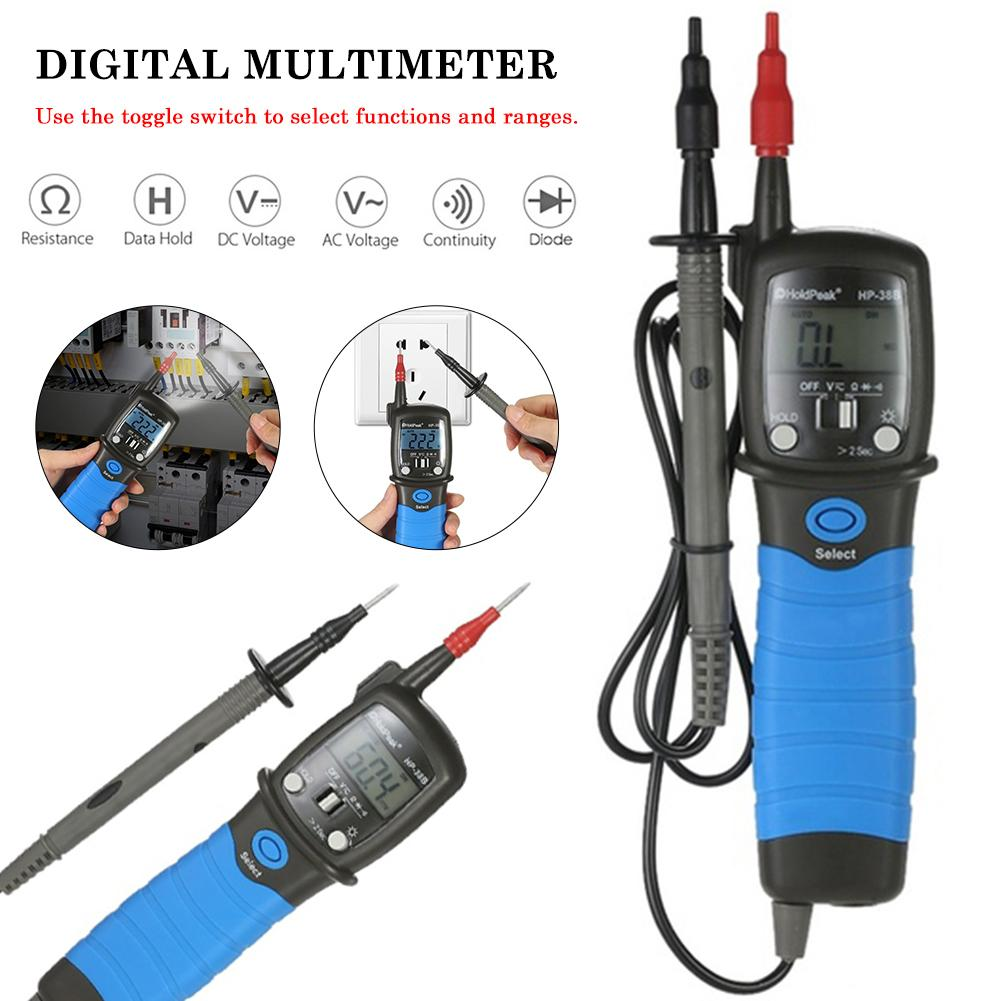 HoldPeak Handheld Backlight LCD Display Pen Type Digital Multimeter DC/AC Voltage Meter Resistance Diode Continuity Tester