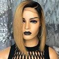 Прямой короткий обрезанный Боб Омбре медовый светлый кружевной передний парик для чернокожих женщин с естественной линией волос Синтетиче...