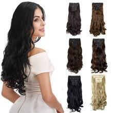 Tam kafa 4 adet Set 11 klipleri kalın üzerinde klip saç ekleme Womens 18 ''24'' uzun kıvırcık dalgalı düz siyah kahverengi saç parçaları