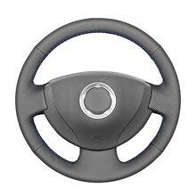 Черный чехол рулевого колеса автомобиля из искусственной кожи для Renault Logan 1 Sandero Lada Largus Nissan Almera G15