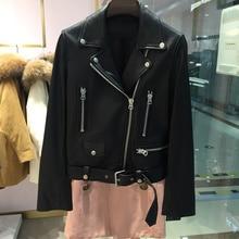 New Autumn Women Pu Leather Jacket Woman Zipper Belt Short Coat Female Black Punk Bomber Faux Leather Outwear
