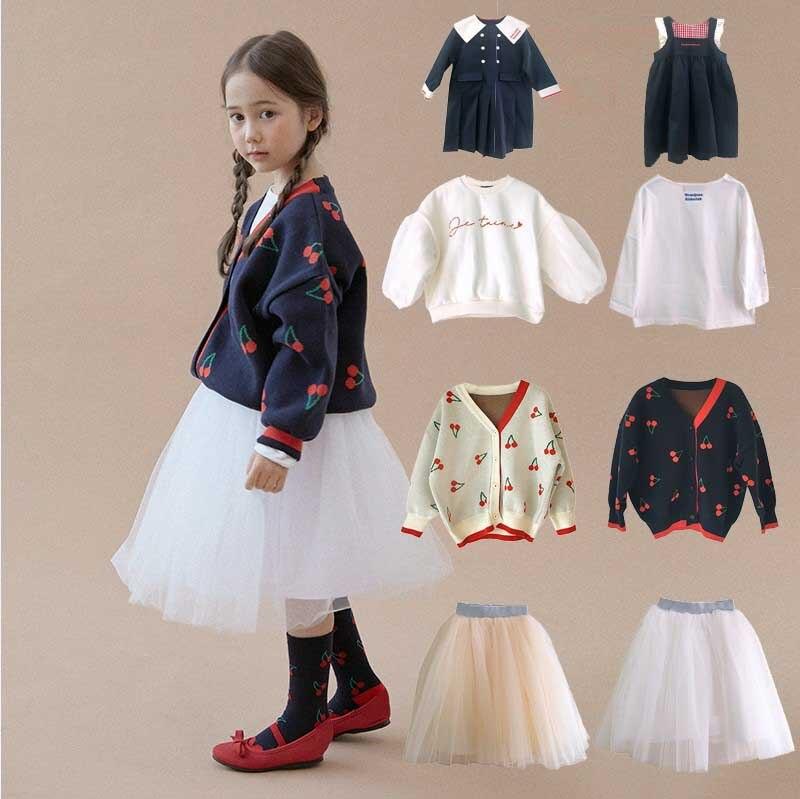 2020 inverno roanjane cereja malha meninas suéteres plissado tutu saias feito à mão do bebê pulôver cardigan da criança meninos crianças roupas