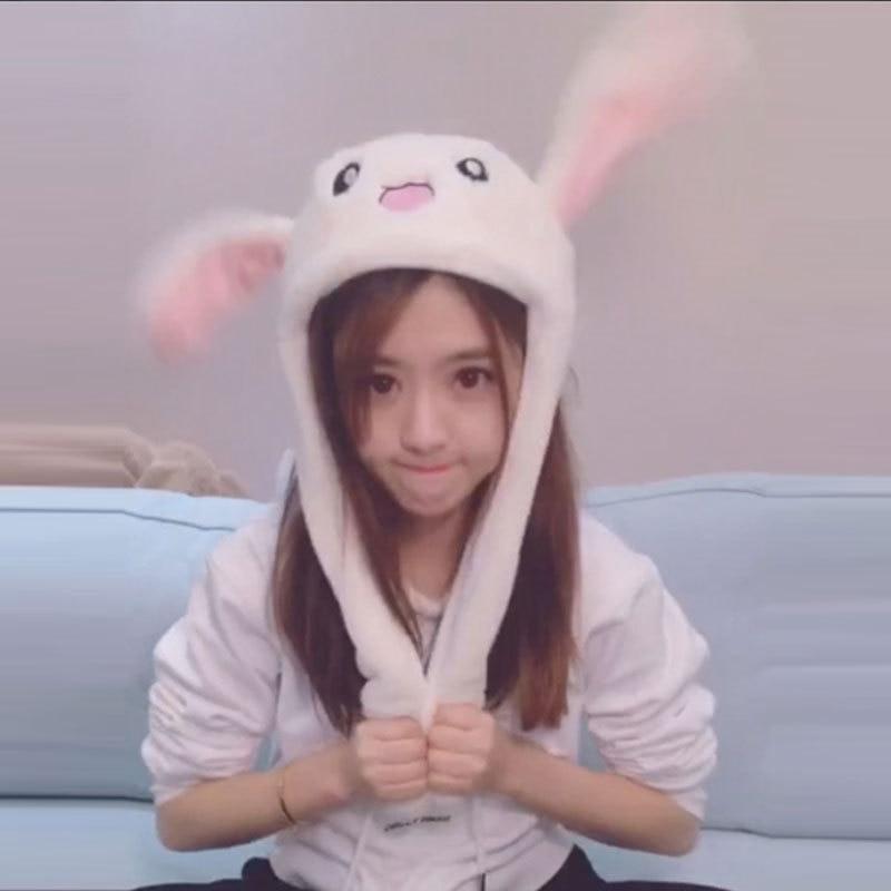 Cartoon Cuddly Moving Ear Rabbit Hat Dance Plush Toy Plush Cap Hat Soft Stuffed Animal Toy Toys for Children