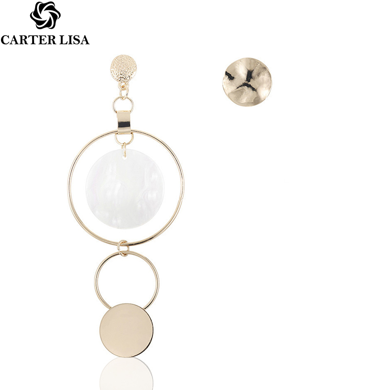 CARTER LISA Korean Style Asymmetric  Gold Color Big Hollow Round Circle Long Drop Earrings For Women Fashion Ear Jewelry Gift