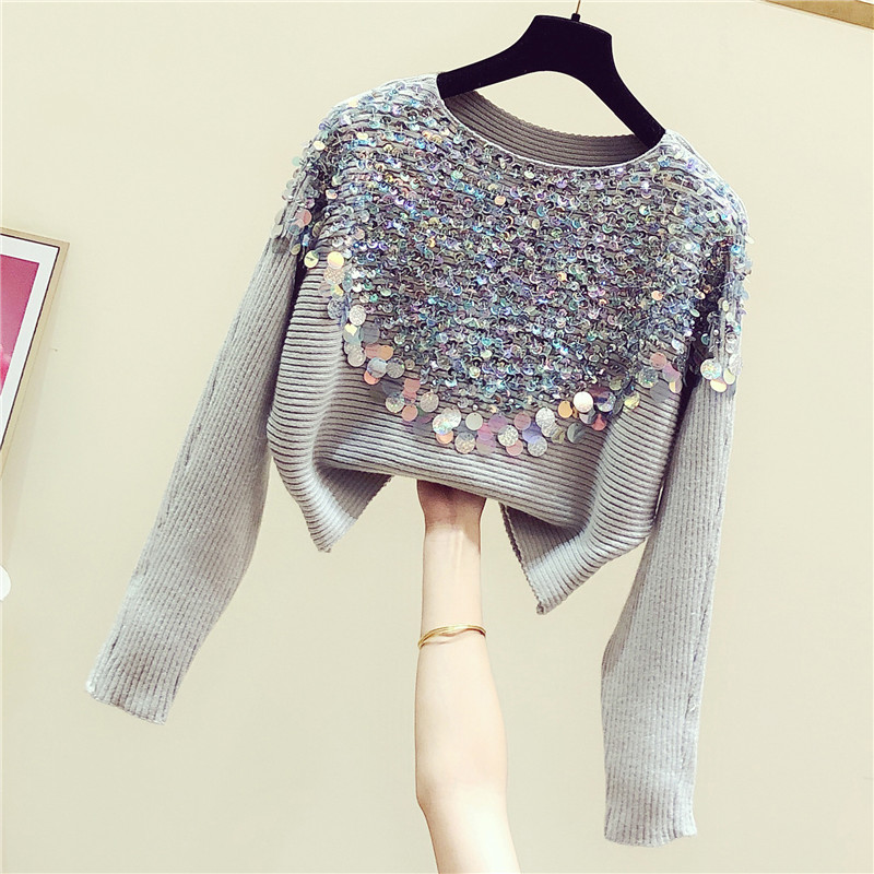 2020 Spring Korean Style Sweater Woman New Spring Autumn Sequined Batwing-Sleeve Loose-Fit Round-Neck Pullover Sweater Sweter