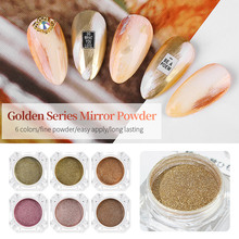 Golden Mirror Effect Nail Art Powder Glitter Long Lasting Rose Gold Color Nails Tips Powder Pigment Manicure Decoration Dust 045 1box mirror nail powder rose gold champagne silver metal effect glitter nail powder nail glitter dust decoration