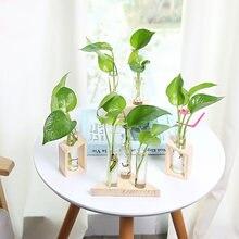 Прозрачная стеклянная ваза деревянная подставка цветочные горшки