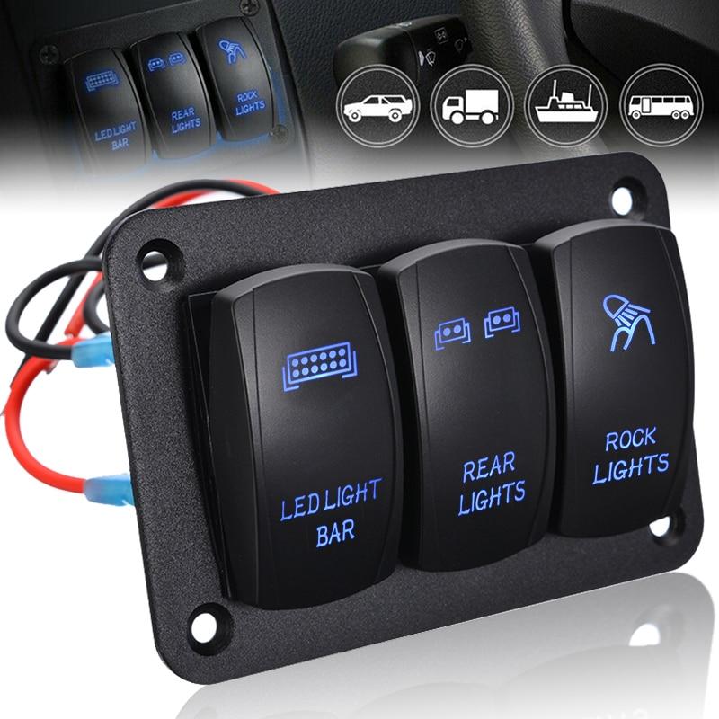 1pc 2 gang painel interruptor de balancim 5 pinos de ligar/desligar interruptor de alternância painel de controle azul luz led 12/24 v para barco carro automóvel marinha atv utv