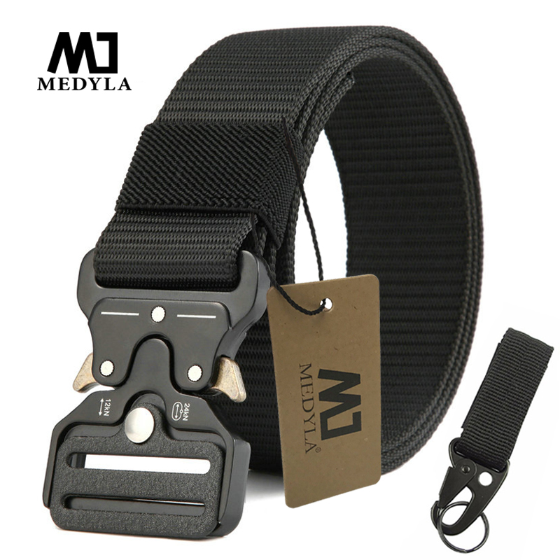 MEDYLA Tactical Belt Military High Quality Nylon Men's Training Belt Metal Buckle New Outdoor Sports Strap With Hook Army Belts