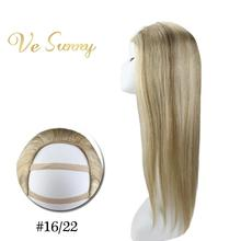 VeSunny One Piece U Part Half Wig 100% Real Human Hair with Clips on Highlighted Blonde
