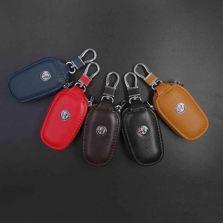Genuine Leather car keychain Car Key Cover Key Case For Alfa Romeo Giulietta Spider GT Giulia Mito 147 156 159 car-styling