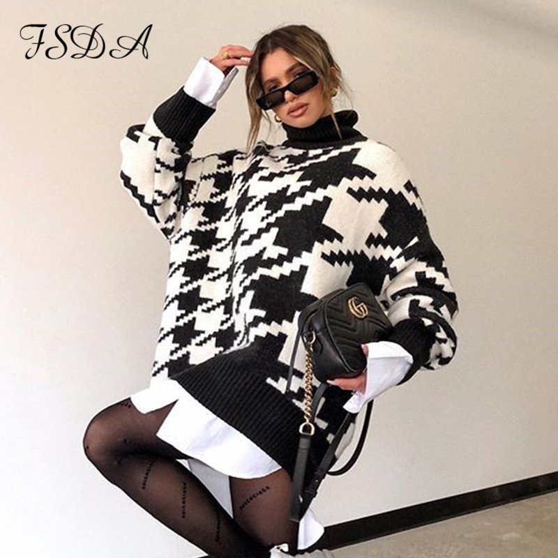 FSDA Long Sleeve Autumn Winter Oversized Sweater Dress Women Turtleneck Black Casual Knit Mini Houndstooth Sexy Party Dresses 1