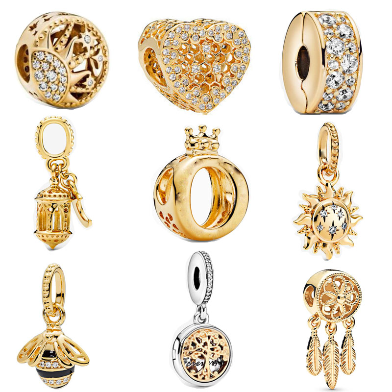 New gold Lantern Sun Pendant bee family forever clip bead fit pandora charms 925 Sterling Silver Beads bracelet DIY Jewelry 2020(China)