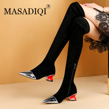 MASADIQI Women Over The Knee Boots Winter Genuine Leather Boots Fashion Shoes Soft Stretch Boots Short Plush Shoes Woman 2020 2016 women s wedge over the knee tall boots genuine suede leather stretch slip on long boots brand designer winter shoes women