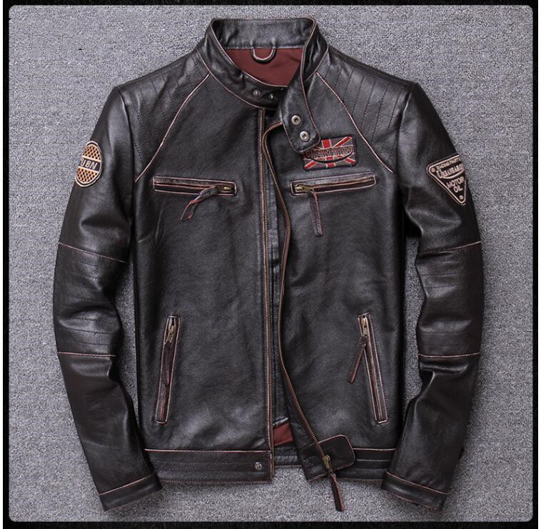H22ba32b01ccd418db3ba4c77fa29a1f55 2019 Vintage Brown Men Slim Fit Motorcycle Leather Jacket Plus Size XXXXL Genuine Cowhide Spring Biker's Coat FREE SHIPPING