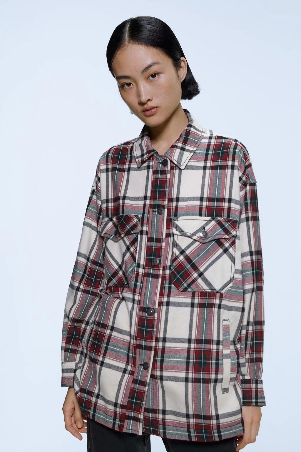 2020 Spring Autumn New Plus Size Zaraing Women Plaid Shirt Jacket Sheining Vadiming Female Plaid Shirt Plus Size A9568