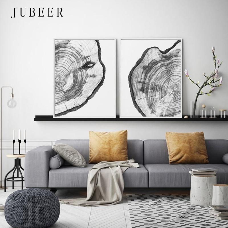 Árbol anillos lienzo pintura árbol blanco y negro arte de la pared troncos rebanada impresión madera cartel moderno decoración de la pared pinturas en la pared