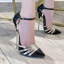 16cm obcasy damskie sandały rozmiar46 mieszane kolory pokaż Model szpilki na imprezę obcas kostki pasek 2020 sandały letnie buty damskie czółenka