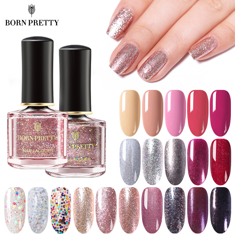 BORN PRETTY Nail Polish 6ml Glittery Rose Gold Series Nails Varnish Sequin Shining Glittering Nail Art Polish For Manicuring DIY