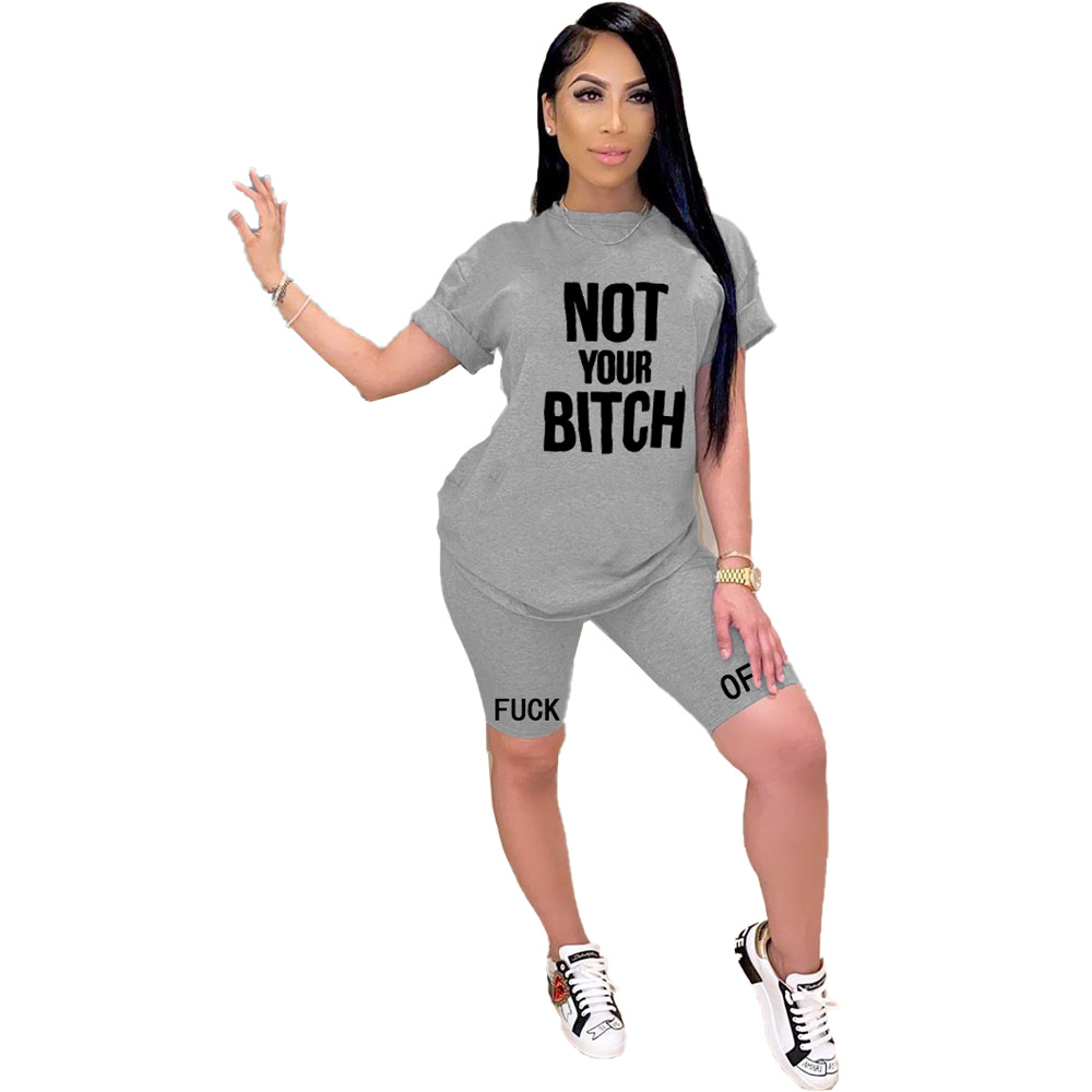 Women New Summer 2020 Tracksuit Outfits Sportwear Casual Fashion Letter Print Short Sleeve O Neck Top Running 2 Piece Shorts Set