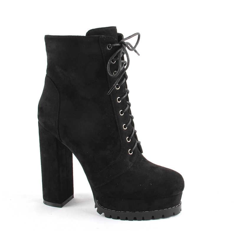 Çizme-kadın sonbahar kış ayakkabı 2020 yeni varış yarım çizmeler yüksek topuklu Faux süet platformu kadınsı ayakkabı kadın patik