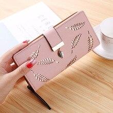 Leaves Hollow Women Wallet Soft PU Leather Women's Clutch Wallet Female Designer