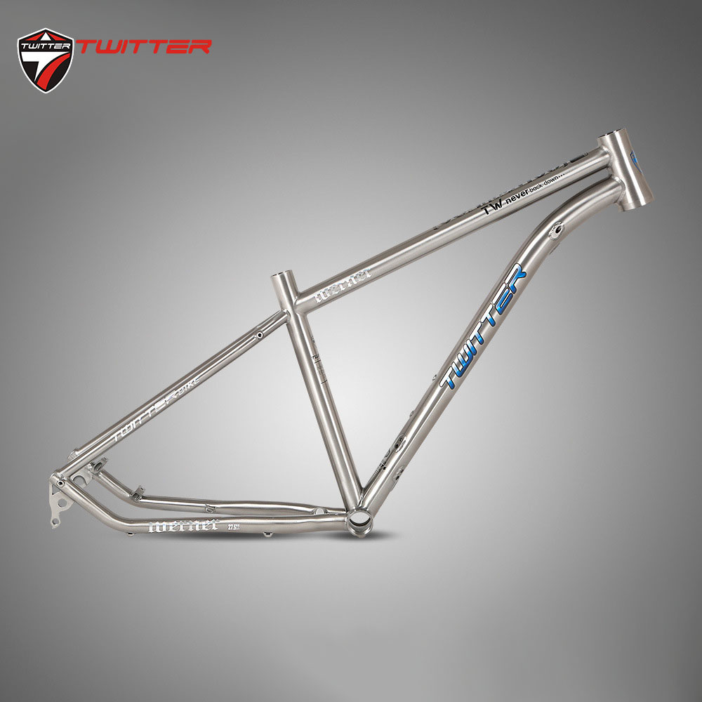 Twitter Werner Titanium MTB Frame 29 27.5er Disc Brake Thru Axle 12*142mm XC Mountain Bike Aviation Titanium Frame 19