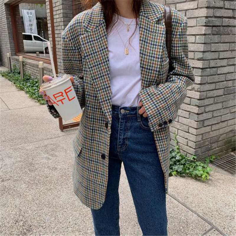 HziriP Warm Plaid Tops All Match Full Sleeves Houndstooth Chic Loose Casual 2020 Geometric Office Lady Fashion Women Blazers