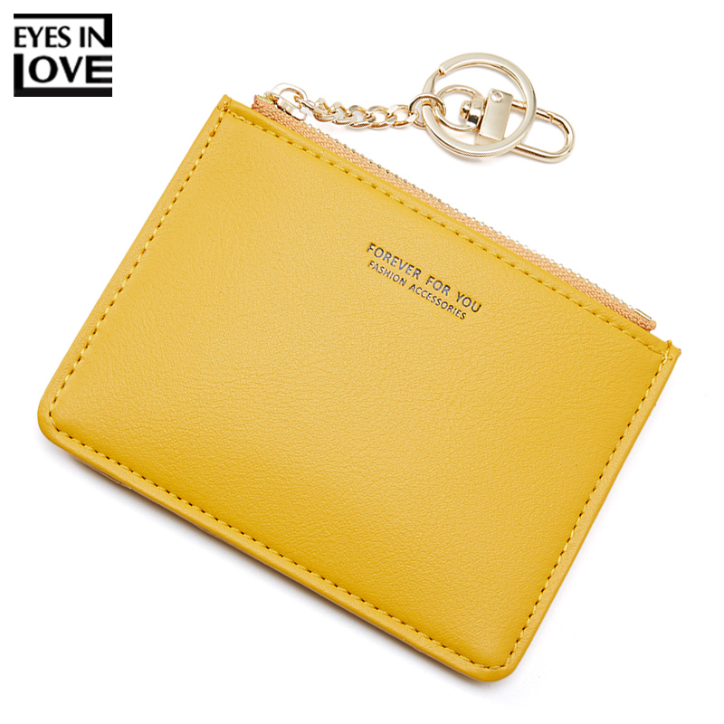 Brand Card Holder Women Soft PU Leather Key Chain Bag Small Card Wallets Female Organzier Mini Credit Card Case Zipper Coin Bags