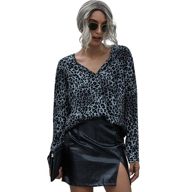 Купить женские топы и блузки 2020 осенние леопардовые с v образным