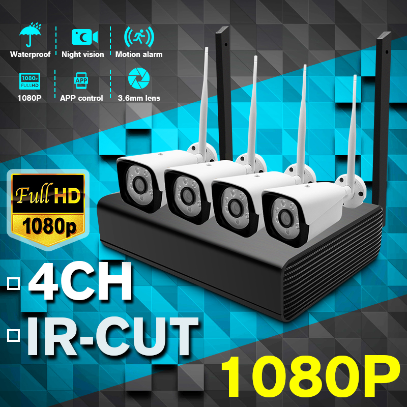 H.264 HD 1080P 4CH Wireless NVR Kits 8MP WIFI Outdoor IP Camera P2P CCTV HDMI Video Surveillance Security System Alarm Free APP image
