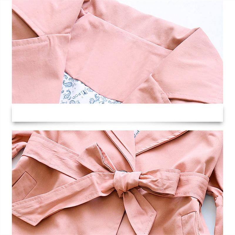 Купить с кэшбэком Korean Kids Girls Trench Coat With Belt Fashion 8 to 10 Years Children Flare Sleeve Trench Coats for Girls Extra Long Overcoat