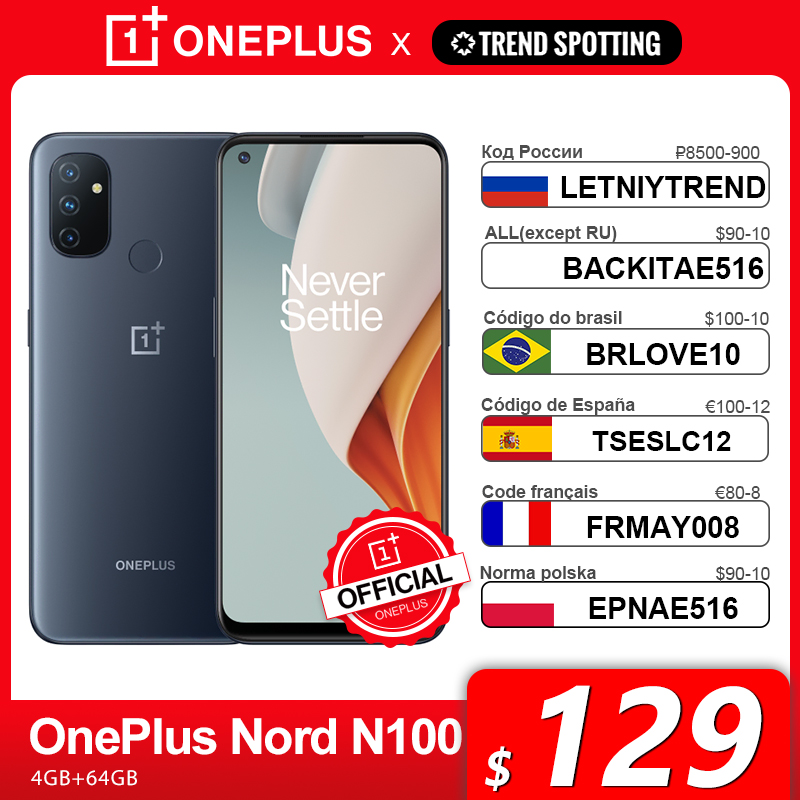 Глобальная версия OnePlus Nord N100 смартфон 4 Гб 64 Гб 90 Гц 6,52 ''Дисплей 13MP тройные камеры 18 Вт 5000 мА/ч, OnePlus официального магазина Carter's, код: LETNIYTREND(...