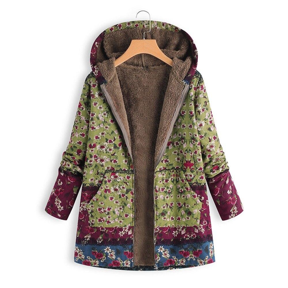 H22bb1e43a2e94e3ca597c9142a4ac213Z Female trench coat women's windbreaker тренч ropa Winter Warm Outwear Floral Print Hooded Pockets Vintage Oversize Coats h4