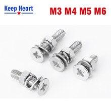 M3m4m5m6 aço inoxidável 304 cabeça redonda parafuso cruz porca junta conjunto completo almofada de mola combinação