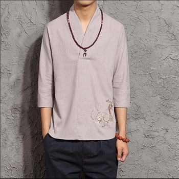 Retro National Style Men Embroidered Three Quarter Sleeve Linen T Shirt Solid Color Tang Costume Linen Shirt Big Size M-5XL